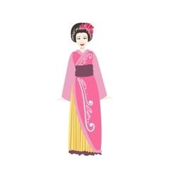 Japanese Geisha In Pink Kimono vector image