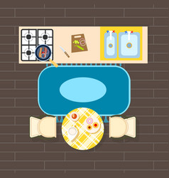 kitchen interior decor on vector image