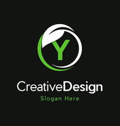 Letter y circle leaf creative business logo vector