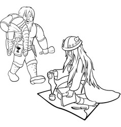 Linear arts with couple of healers vector