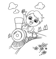 Little boy driving a toy train coloring page vector