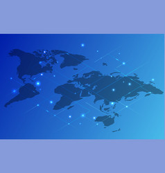 Map of the world in blue color placard vector