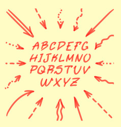 marker hand written doodle arrows and letters vector image