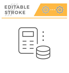 money calculation editable stroke line icon vector image
