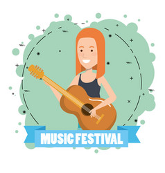 music festival live with woman playing acoustic vector image