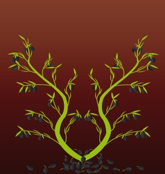 Olive Tree with the background vector