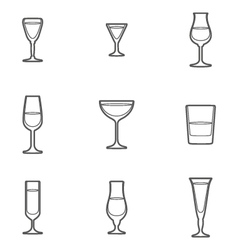 outline alcohol glasses icon set vector image vector image