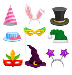 party and masquerade head decor set hat mask vector image
