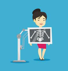 Patient during x ray procedure vector