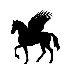 Pegasus silhouette mythology symbol fantasy tale vector