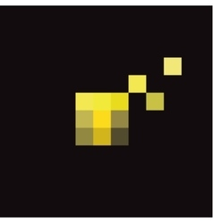 Pixel Letter T in the form of abstraction yellow vector image