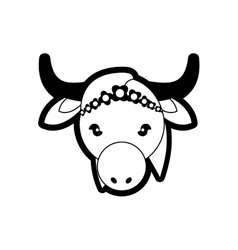 Portrait sacred animal cow india life symbol vector