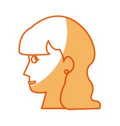 Profile head woman female long hair vector
