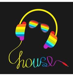 Rainbow headphones cord word house glasses vector