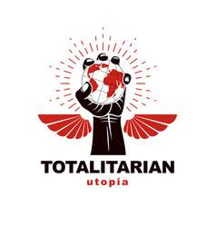 Raised arm holds earth globe logo propaganda as vector