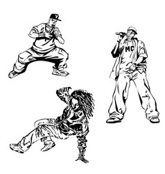 raper dancer and mc on white background extreme vector image