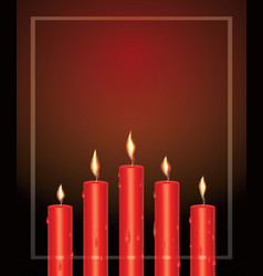 realistic red glowing candles with melted wax and vector image