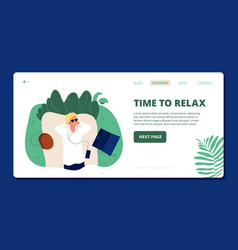 relax landing page happy boy relaxing on nature vector image