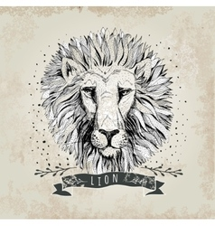 Retro lion head design vector