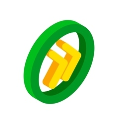 Round rewind button isometric 3d icon vector