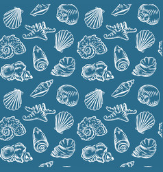 Sea shells hand drawn sketch style pattern vector