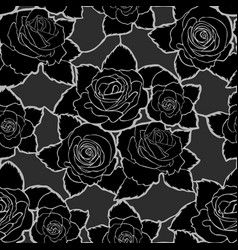 seamless floral pattern with black roses vector image