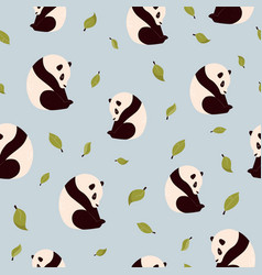 seamless pattern with cute pandas and green leaves vector image