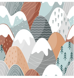 seamless pattern with doodle mountains vector image