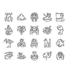 set 20 flat icons egypt culture design vector image