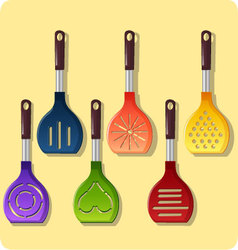 set of colored ladle vector image