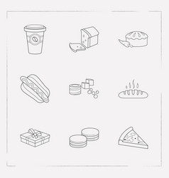 set of dessert icons line style symbols with loaf vector image