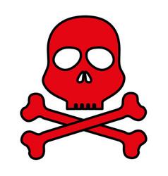 skull danger alert icon vector image