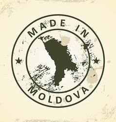 Stamp with map of Moldova vector
