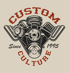 t-shirt design with a hot rod engine in vintage vector image