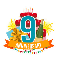 Template 9 years anniversary congratulations vector