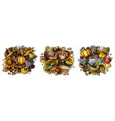 thanksgiving cartoon doodle designs set vector image