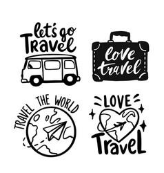 travel labels retro emblems doodle logo with vector image