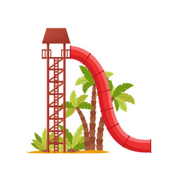 Water park with colored waterslide red tube vector