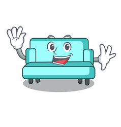 Waving sofa character cartoon style vector