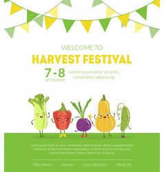 Welcome to harvest festival banner website vector