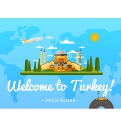 Welcome to Turkey poster with famous attraction vector image