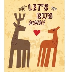 Wild animals love couple deer greeting card vector