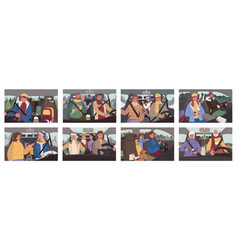 winter road trip people traveling cars set vector image