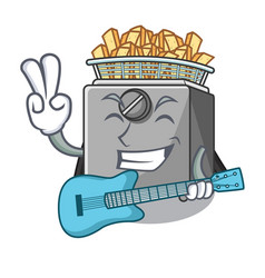 With guitar cooking french fries in deep fryer vector