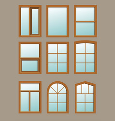 Wooden window in the wall vector