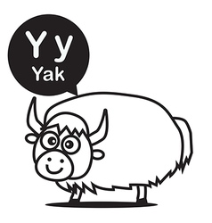Y Yak cartoon and alphabet for children to vector