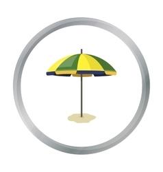 Yelow-green beach umbrella icon in cartoon style vector