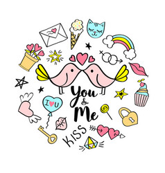 You and me lettering with girly doodles vector