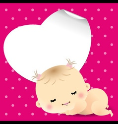 Baby shower card with sweet sleeping newborn baby vector image vector image