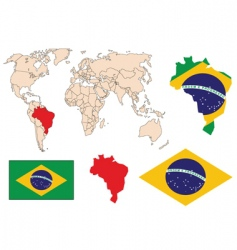 brazil in the world vector image vector image